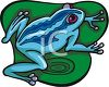 picture of a blue frog on a lily pad in a vector clip art illustration clipart