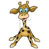 picture of a cartoon baby giraffe standing up in a vector clip art illustration clipart