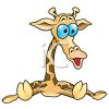 Picture of a cartoon baby giraffe sitting down with a funny face in a vector clip art illustration clipart