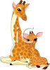 picture of a mother and her baby giraffe sitting down in a vector clip art illustration clipart