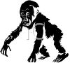 picture of a baby gorilla walking in a vector clip art illustration clipart