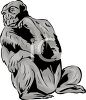 picture of an ape sitting down with a look as though he is thinking, in a vector clip art illustration clipart
