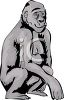 picture of an ape in grayscale squatting down in a vector clip art illustration clipart