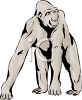 picture of a gorilla standing in a vector clip art illustration clipart