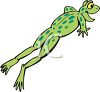 picture of a frog leaping through the air with a happy look on his face in a vector clip art illustration clipart