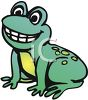 picture of a cute young frog sitting down smiling in a vector clip art illustration clipart
