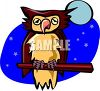 picture of a cartoon owl sitting on a perch in the moonlight in a vector clip art illustration clipart