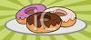 picture of frosted donuts on a plate in a vector clip art illustration clipart