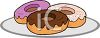 picture of an assortment of frosted donuts on a plate in a vector clip art illustration clipart