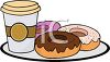 picture of frosted donuts and coffee on a plate in a vector clip art illustration clipart