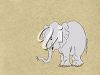 picture of an elephant calf on a brown background in a vector clip art illustration clipart