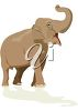 picture of a brown elephant with his mouth open and truck up in a vector clip art illustration clipart