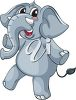 picture of a cartoon elephant calf standing on one leg in a vector clip art illustration clipart