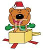 picture of a cartoon stuff bear wearing a santa hat and sitting inside a gift box in a vector clip art illustration clipart