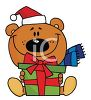 picture of a cartoon bear sitting down holding a gift in a vector clip art illustration clipart
