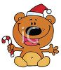 picture of a happy cartoon bear sitting down wearing a santa hat and holding  candy cane in a vector clip art illustration clipart