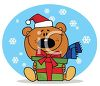 picture of a holiday bear sitting down smiling and holding a gift in a vector clip art illustration clipart