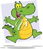picture of a happy cartoon alligator on a blue background in a vector clip art illustration clipart