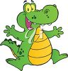 picture of a happy cartoon alligator jumping in the air in a vector clip art illustration clipart