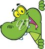 picture of a cute cartoon alligator peeking around a corner smiling in a vector clip art illustration clipart