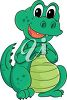 picture of a cute baby alligator sitting down in a vector clip art illustration clipart