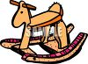 picture of a wooden toy horse in a vector clip art illustration clipart