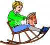 picture of a boy riding on a toy wooden rocking horse in a vector clip art illustration clipart