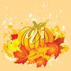 A pumkin surrounded by fall leaves clipart