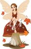 A cartoon faerie sitting on a mushroom with fall leaves falling. clipart