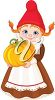 A cartoon clipart image of an elf with a Fall pumpkin clipart