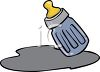 picture of a small baby bottle with spilled milk in a vector clip art illustration clipart