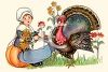 A woman feeding a turkey in preparation for Thanksgiving clipart