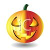 picture of a lit up jack o lantern in a vector clip art illustration clipart