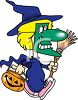 picture of a child dressed as a witch walking with her trick or treat bucket in a vector clip art illustration clipart