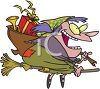 picture of a cartoon witch flying on her broom carrying a pack of toys in a vector clip art illustration clipart