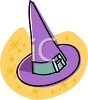picture of a purple witches hat on a yellow starry background in a vector clip art illustration clipart