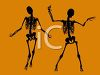 picture of two skeletons dancing on an orange background in a vector clip art illustration clipart