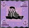 Background illustration of a cruise liner and anchors. clipart