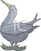 picture of a goose standing with in the grass with it's beak in the air in a vector clip art illustration clipart