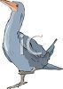 picture of a blue goose standing on one foot in a vector clip art illustration clipart