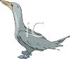 picture of a blue goose standing on a white background in a vector clip art illustration clipart