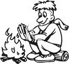 picture of a boy sitting on a log warming his hands by the campfire in a vector clip art illustration clipart