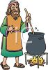 picture of a religious man stirring a pot of brew over a campfire in a vector clip art illustration clipart