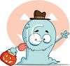 picture of a blue cartoon ghost with his tongue out wearing a hat and holding a pumpkin, with a pumpkin background in a vector clip art illustration clipart