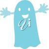picture of a blue ghost costume with it's arms out in a vector clip art illustration clipart