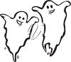 picture of an outline of two ghosts on a white background in a vector clip art illustration clipart