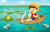 Clip art image of a boy rowing his boat on a lake. clipart