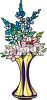 picture of fresh cut flowers in a vase in a vector clip art illustration clipart