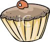 picture of a frosted cupcake with a cherry in a vector clip art illustration clipart