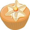 picture of a frosted cupcake in a vector clip art illustration clipart
